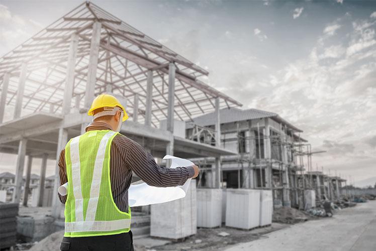 examining construction plans
